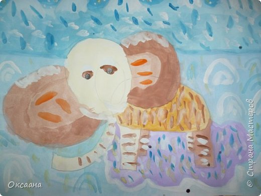Рисовали с детьми 5-6 лет мамонтов . Образец фото 11