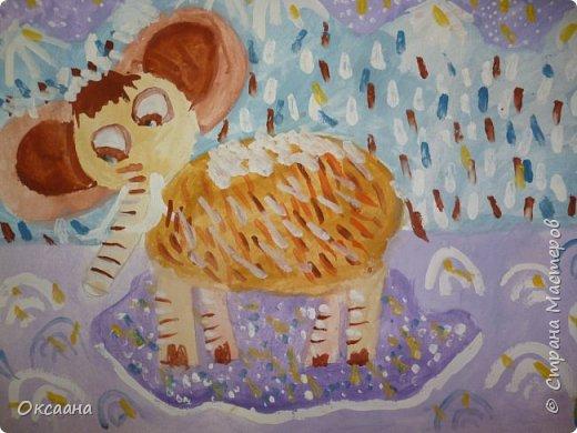 Рисовали с детьми 5-6 лет мамонтов . Образец фото 13