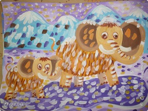 Рисовали с детьми 5-6 лет мамонтов . Образец фото 1