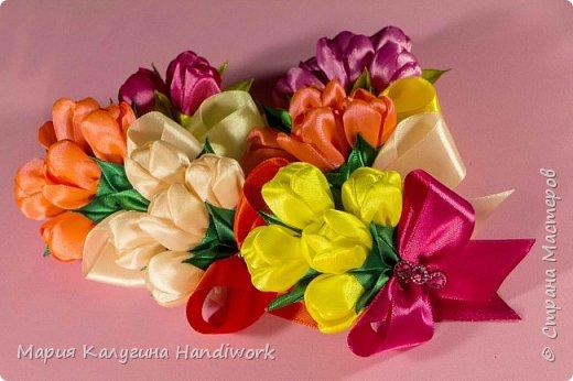 Тюльпаны Канзаши Мастер-класс,подарок на магните.