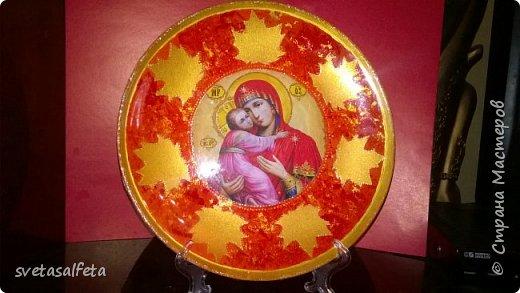 декупаж и декор стеклянных прозрачных тарелок. фото 4