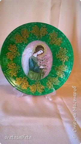 декупаж и декор стеклянных прозрачных тарелок. фото 2