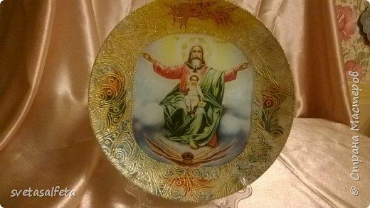 декупаж и декор стеклянных прозрачных тарелок. фото 6