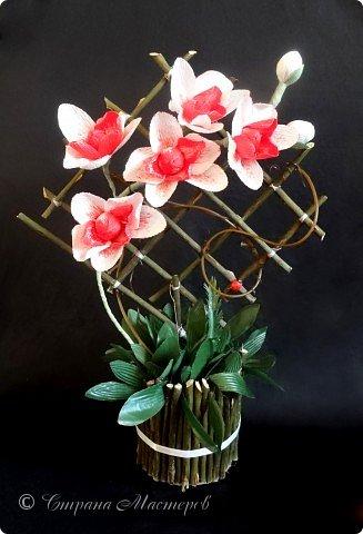 """Конкурс был объявлен здесь http://stranamasterov.ru/node/1011037  Работа №1 """"Подари мне орхидеи""""  Подари мне букет орхидей, Я пойму тайну скрытых признаний, Стану ласковей, проще, нежней, Не сокрою я смелых желаний…   Нежный трепет волшебных цветов Несказанного очарованья Озаряет собою свиданье Без излишних смутившихся слов.   Я раскроюсь, как эти цветы, Красотой небывалой, нежданной, Что сбываются в жизни мечты, Я поверю, как в мир первозданный.  Автор: Рената Юрьева Композиция на вазе. Состав: Конфеты - """"Фундук в шоколаде"""" - 17 шт., """"Арфа"""" - 11 шт., карамель BS Fruit - 5 шт. Флористическая гофра, пеноплекс, проволока, картон, тейп-лента, тычинки искусственные для цветов, ваза. фото 6"""