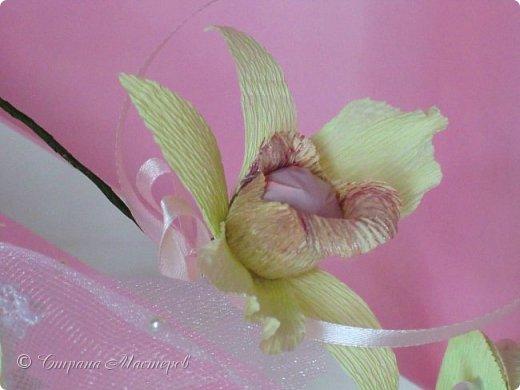 """Конкурс был объявлен здесь http://stranamasterov.ru/node/1011037  Работа №1 """"Подари мне орхидеи""""  Подари мне букет орхидей, Я пойму тайну скрытых признаний, Стану ласковей, проще, нежней, Не сокрою я смелых желаний…   Нежный трепет волшебных цветов Несказанного очарованья Озаряет собою свиданье Без излишних смутившихся слов.   Я раскроюсь, как эти цветы, Красотой небывалой, нежданной, Что сбываются в жизни мечты, Я поверю, как в мир первозданный.  Автор: Рената Юрьева Композиция на вазе. Состав: Конфеты - """"Фундук в шоколаде"""" - 17 шт., """"Арфа"""" - 11 шт., карамель BS Fruit - 5 шт. Флористическая гофра, пеноплекс, проволока, картон, тейп-лента, тычинки искусственные для цветов, ваза. фото 39"""