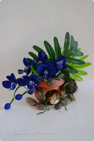 """Конкурс был объявлен здесь http://stranamasterov.ru/node/1011037  Работа №1 """"Подари мне орхидеи""""  Подари мне букет орхидей, Я пойму тайну скрытых признаний, Стану ласковей, проще, нежней, Не сокрою я смелых желаний…   Нежный трепет волшебных цветов Несказанного очарованья Озаряет собою свиданье Без излишних смутившихся слов.   Я раскроюсь, как эти цветы, Красотой небывалой, нежданной, Что сбываются в жизни мечты, Я поверю, как в мир первозданный.  Автор: Рената Юрьева Композиция на вазе. Состав: Конфеты - """"Фундук в шоколаде"""" - 17 шт., """"Арфа"""" - 11 шт., карамель BS Fruit - 5 шт. Флористическая гофра, пеноплекс, проволока, картон, тейп-лента, тычинки искусственные для цветов, ваза. фото 4"""