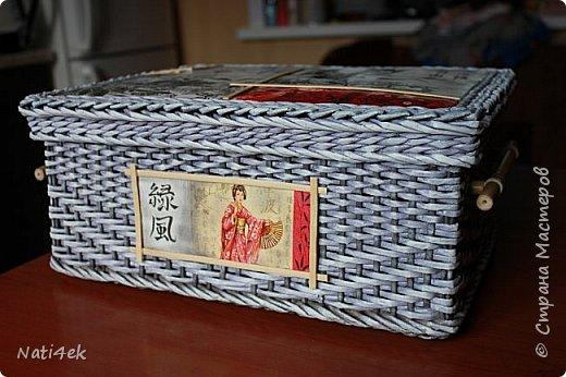 """Приветствую любимая страна!!! Сегодня покажу пару работ плетенных и немного картонажа на который я подсела в последнее время. И так.... Сплела сундучок """"Япония"""" все той-же подружке которая любит все японское.  За основу взяла МК Лолы http://stranamasterov.ru/node/922760 . Цвет """"эбеновое дерево"""" хорошо разведенное + патина.  фото 1"""