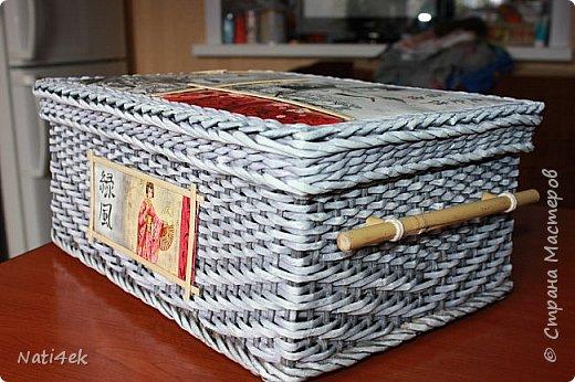 """Приветствую любимая страна!!! Сегодня покажу пару работ плетенных и немного картонажа на который я подсела в последнее время. И так.... Сплела сундучок """"Япония"""" все той-же подружке которая любит все японское.  За основу взяла МК Лолы http://stranamasterov.ru/node/922760 . Цвет """"эбеновое дерево"""" хорошо разведенное + патина.  фото 6"""