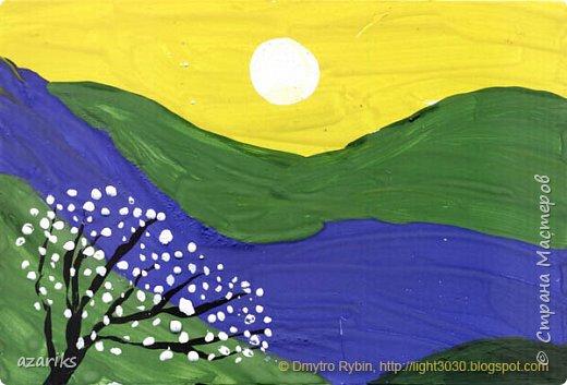Цветовые эскизы - хороший способ для фиксации идей и обучения рисованию и живописи. Способ преодолеть психологический барьер и начать рисовать. Эскиз не должен быть совершенным как большая картина, он только несет основную идею с которой можно работать и развивать. Гуашь 10x15 cm. Спонтанная картина фото 2