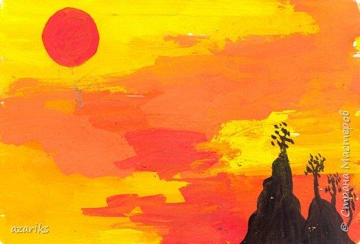 Цветовые эскизы - хороший способ для фиксации идей и обучения рисованию и живописи. Способ преодолеть психологический барьер и начать рисовать. Эскиз не должен быть совершенным как большая картина, он только несет основную идею с которой можно работать и развивать. Гуашь 10x15 cm. Спонтанная картина фото 4