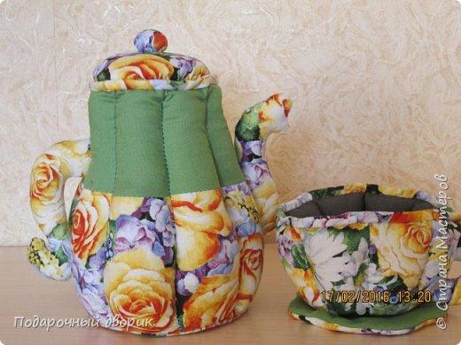 Текстильный чайник и чашечка. фото 1