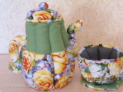 Текстильный чайник и чашечка. фото 2