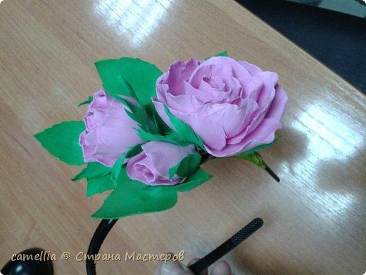 Ободок с цветком из фоамирана.