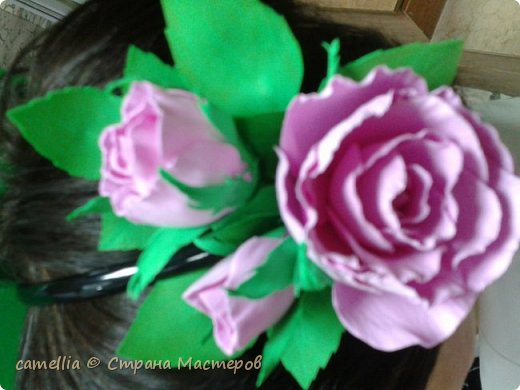 Ободок с цветком из фоамирана. фото 2