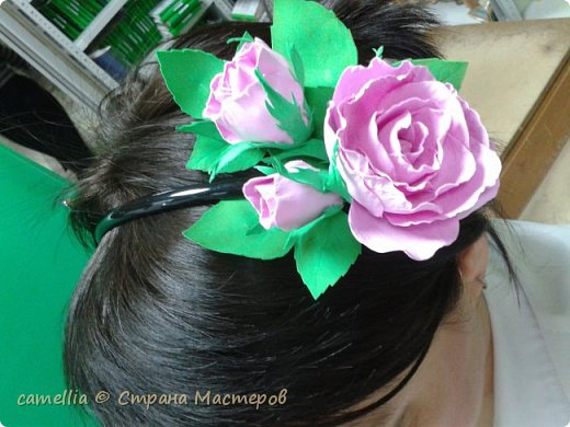 Ободок с цветком из фоамирана. фото 3