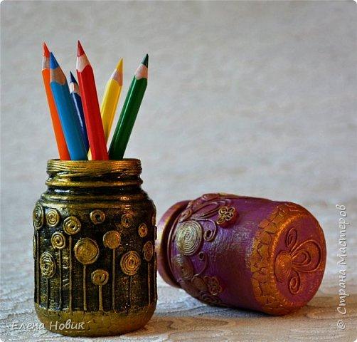 Все предметы декорированы в  технике пейп-арт Т.Сорокиной. Карандашница и баночка-шкатулка для внучки.  фото 1