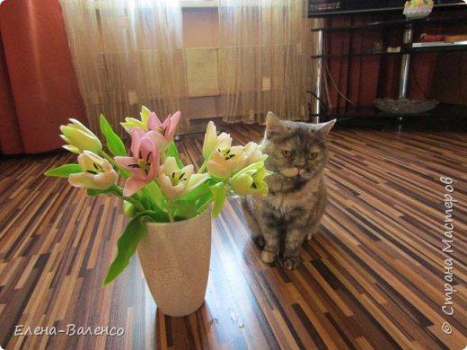 """Добрый день, страна. Давно хотела попробовать сваять букет с тюльпанами, но не знала с какой стороны к ним подступиться. Выставляю на Ваш суд букетик под названием """"Вчерашний праздник или 9 марта"""" фото 9"""