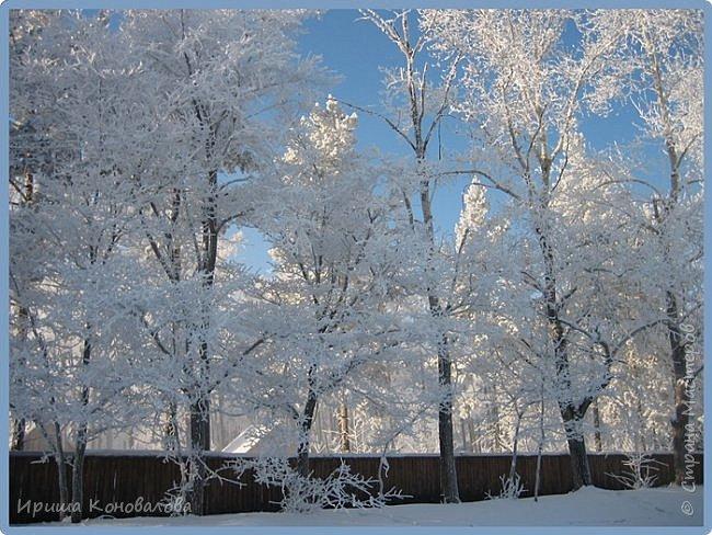 Все фотографии сделаны мною в начале января не помню точно какого года в Амурской области в г. Зея.. Там обычно, до начала ветров, до февраля, царствует такая красота. Основные фото сделаны на берегу реки Зея. Она, убегая от Зейской ГЭС,  долго не замерзает, что и дает возможность любоваться чудными пейзажами.   фото 6