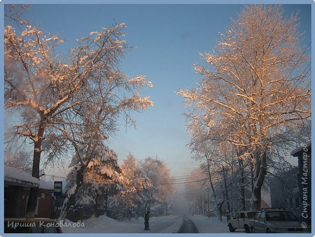 Все фотографии сделаны мною в начале января не помню точно какого года в Амурской области в г. Зея.. Там обычно, до начала ветров, до февраля, царствует такая красота. Основные фото сделаны на берегу реки Зея. Она, убегая от Зейской ГЭС,  долго не замерзает, что и дает возможность любоваться чудными пейзажами.   фото 23