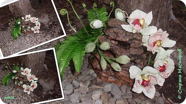 """Работа называлась """"Дикая орхидея"""" Мое видение и мои стихи: Среди проталин и камней Случайно чудо увидала... Живая ветка орхидей Вдруг расцветает у корней И папоротник вместе с ней... фото 1"""