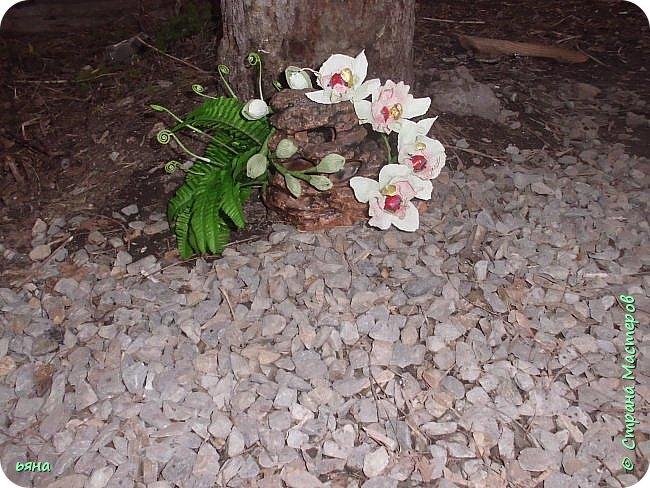 """Работа называлась """"Дикая орхидея"""" Мое видение и мои стихи: Среди проталин и камней Случайно чудо увидала... Живая ветка орхидей Вдруг расцветает у корней И папоротник вместе с ней... фото 3"""