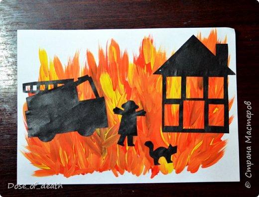 """Мы с сыном сделали несколько работ для садика, на тему: """"Пожарная безопасность"""". Некоторые идеи были взяты со СМ. Спасибо авторам. Точно сказать не могу, т.к. я пересмотрела очень много работ. фото 1"""