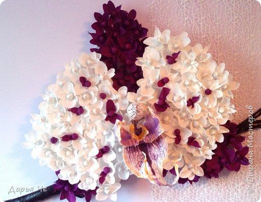 """""""Сто и ОДНА орхидея""""  МОИ ОРХИДЕИ  Жду мыслей тысячи касаний,  как ждёт младенец молока,  как ждёт искусство дарований,  как ждёт учёба дурака..   Я жду рождения идеи,  чтоб обратить её в цветы.  И будут пахнуть орхидеи  на благо общей суеты.   Автор: ВИТАЛИ ВИДАЛЬ  Настенное панно. Общий размер - 160 см х 90 см. Размер цветка 70 см х 60 см.  Состав материалов: бумага гофрированная, нитки, клей, пеноплекс, сетка флористическая, ветки сосновые, поролон, зубочистки, краски гуашевые. Состав конфет: """"Sharlet"""" трюфель 100 штук. фото 3"""