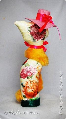 """ДОБРЫЙ ДЕНЬ МОИ дорогие мастера и мастерицы , сегодня я к вам  с двумя мадам - кисами,  понравилось мне работать в технике """"  грунтовый текстиль """", получились  две статуэточки кошечек в шляпках. фото 4"""