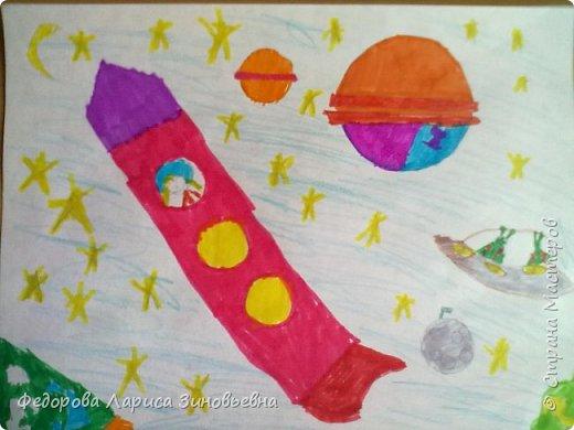 """Доброе утро всем. Предлагаю вашему вниманию работы учеников на конкурс """"День космонавтики"""".Первая работа ученицы 3 класса. фото 5"""