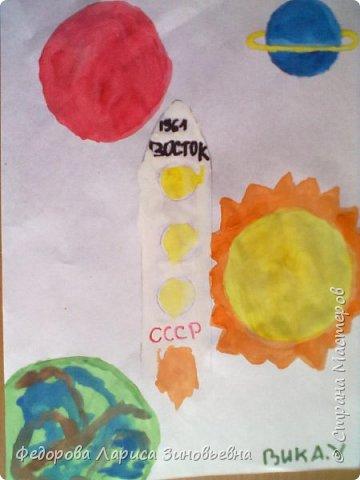 """Доброе утро всем. Предлагаю вашему вниманию работы учеников на конкурс """"День космонавтики"""".Первая работа ученицы 3 класса. фото 4"""
