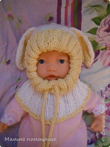 Здравствуйте! Подоспели у меня новые шапочки и пинетки связанные на заказ. Шапка-шлем для новорожденного фото 1