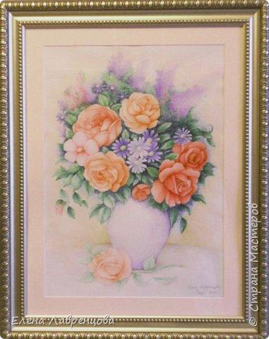 """""""Букет в вазе"""" Техника: акварель и цветной карандаш. Картина нарисована на заказ. фото 1"""