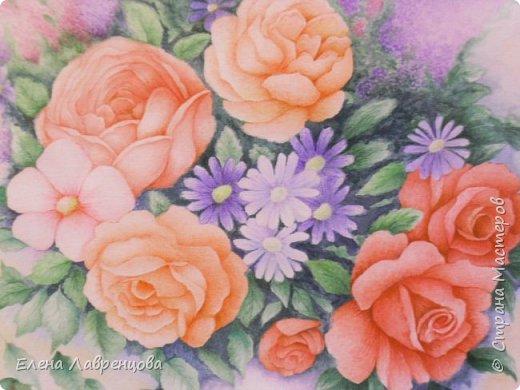 """""""Букет в вазе"""" Техника: акварель и цветной карандаш. Картина нарисована на заказ. фото 2"""