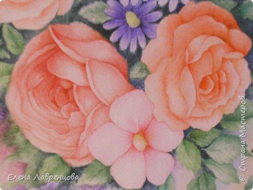 """""""Букет в вазе"""" Техника: акварель и цветной карандаш. Картина нарисована на заказ. фото 3"""