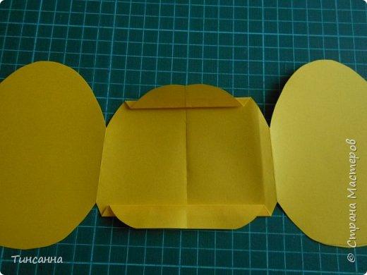 Открытка в форме яйца, при открывании  которой  появляется цыпленок. При ее изготовлении используются приемы оригами и скрапбукинга. фото 13