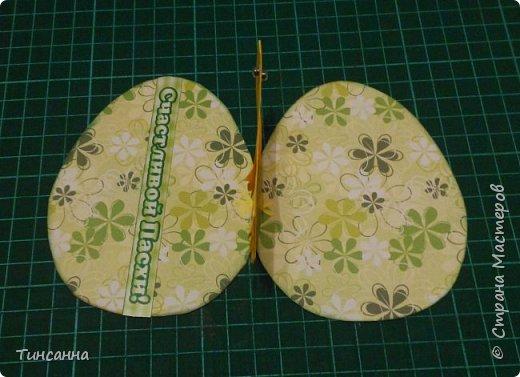 Открытка в форме яйца, при открывании  которой  появляется цыпленок. При ее изготовлении используются приемы оригами и скрапбукинга. фото 24