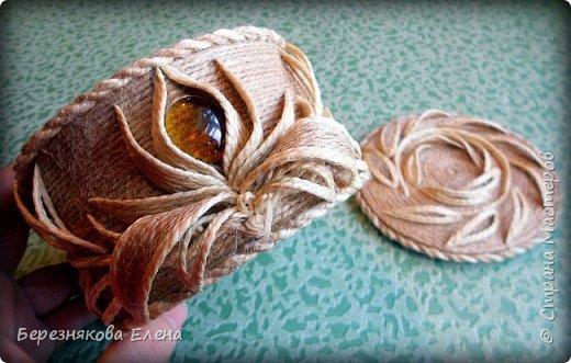 И снова здравствуйте)))Очередные шкатулочки из всё того же шпагата.Опробовала круглую форму.Как получилось-судить вам))) фото 10