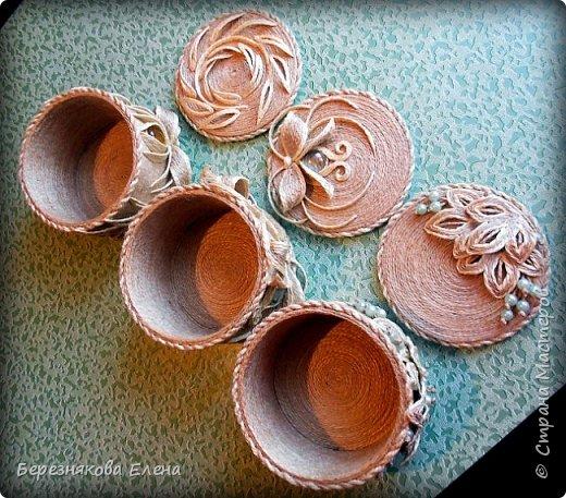 И снова здравствуйте)))Очередные шкатулочки из всё того же шпагата.Опробовала круглую форму.Как получилось-судить вам))) фото 13