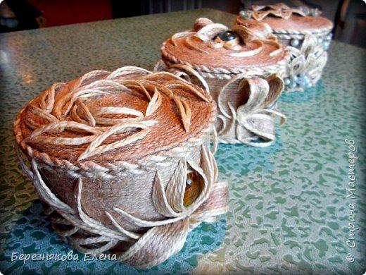 И снова здравствуйте)))Очередные шкатулочки из всё того же шпагата.Опробовала круглую форму.Как получилось-судить вам))) фото 14