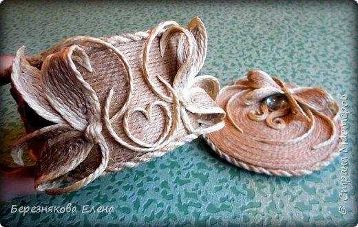 И снова здравствуйте)))Очередные шкатулочки из всё того же шпагата.Опробовала круглую форму.Как получилось-судить вам))) фото 7