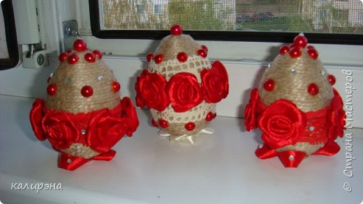Готовлюсь к Пасхе. Яйца в разных стилях. Эти подвески, шпагатные фото 5