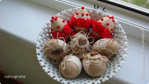 Готовлюсь к Пасхе. Яйца в разных стилях. Эти подвески, шпагатные фото 6
