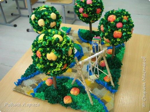 """""""Сад - библиотека"""" - работа выполнена для конкурса. Идея работы: сад, в котором можно кататься на качелях и читать книги. Попутно можно угоститься спелым яблочком. фото 1"""