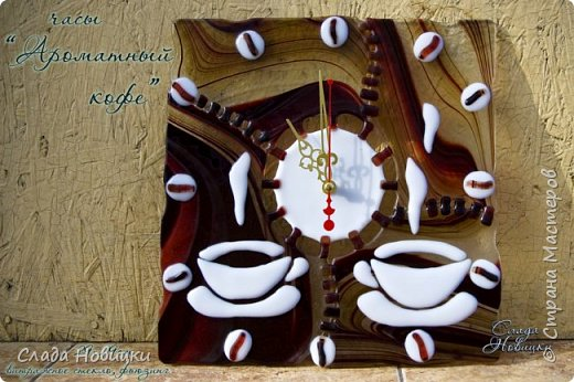 """Часы """"Ароматный кофе"""", стекло, фьюзинг фото 5"""