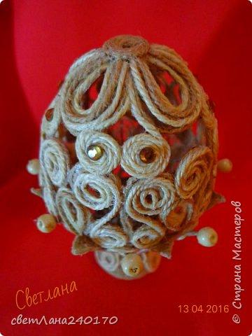 Пасхальные яйца - джутовая филигрань фото 3