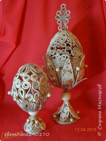 Пасхальные яйца - джутовая филигрань фото 1