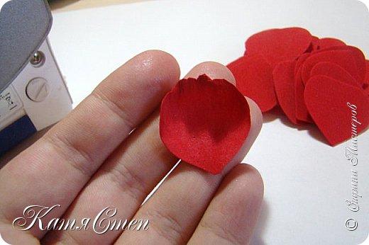 Предлагаю Вашему вниманию мой вариант создания пионовидной розы.  Материалы: 1. Фоамиран  2-х цветов - для розы и зеленый для листьев (я использовала иранский). 2. Термо-клей или супер-клей. 3. Молд листа розы (хотя можно и без него...). 4. Ножницы. 5. Губка для посуды. 6. Округлый предмет\булька - у меня шарик от светильника))). 7. Утюг. 8. Краска для тонировки листьев - акрил, пастель сухая или масляная.  9. Лак акриловый (по желанию или наличию))).   фото 6