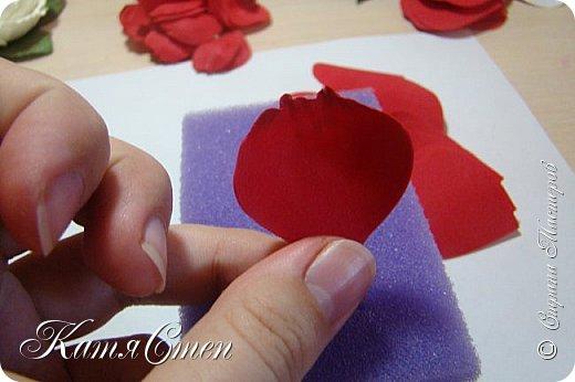 Предлагаю Вашему вниманию мой вариант создания пионовидной розы.  Материалы: 1. Фоамиран  2-х цветов - для розы и зеленый для листьев (я использовала иранский). 2. Термо-клей или супер-клей. 3. Молд листа розы (хотя можно и без него...). 4. Ножницы. 5. Губка для посуды. 6. Округлый предмет\булька - у меня шарик от светильника))). 7. Утюг. 8. Краска для тонировки листьев - акрил, пастель сухая или масляная.  9. Лак акриловый (по желанию или наличию))).   фото 14