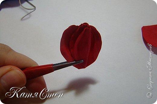 Предлагаю Вашему вниманию мой вариант создания пионовидной розы.  Материалы: 1. Фоамиран  2-х цветов - для розы и зеленый для листьев (я использовала иранский). 2. Термо-клей или супер-клей. 3. Молд листа розы (хотя можно и без него...). 4. Ножницы. 5. Губка для посуды. 6. Округлый предмет\булька - у меня шарик от светильника))). 7. Утюг. 8. Краска для тонировки листьев - акрил, пастель сухая или масляная.  9. Лак акриловый (по желанию или наличию))).   фото 19