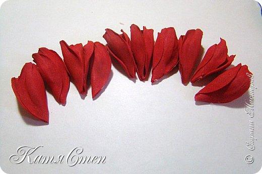 Предлагаю Вашему вниманию мой вариант создания пионовидной розы.  Материалы: 1. Фоамиран  2-х цветов - для розы и зеленый для листьев (я использовала иранский). 2. Термо-клей или супер-клей. 3. Молд листа розы (хотя можно и без него...). 4. Ножницы. 5. Губка для посуды. 6. Округлый предмет\булька - у меня шарик от светильника))). 7. Утюг. 8. Краска для тонировки листьев - акрил, пастель сухая или масляная.  9. Лак акриловый (по желанию или наличию))).   фото 23
